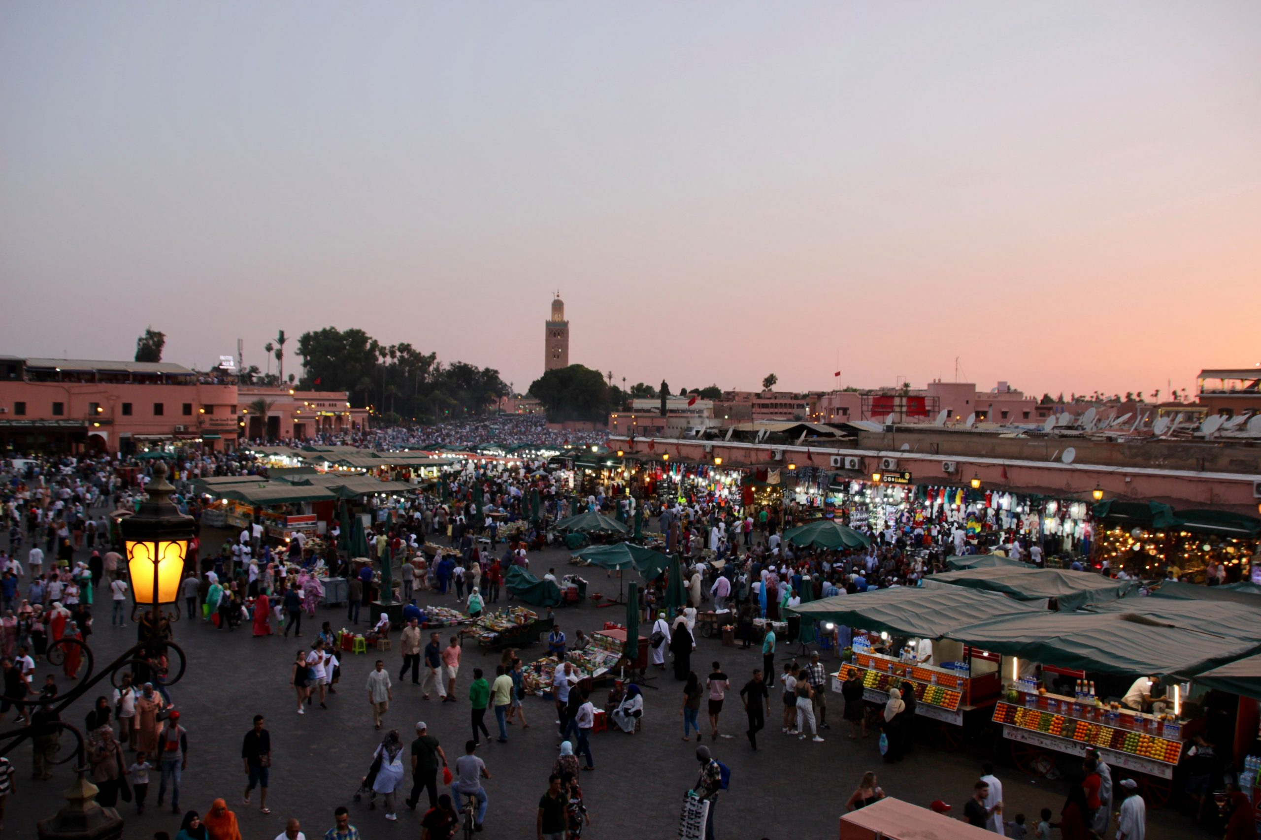 The famous Place Jmaa El Fnaa in Marrakech where artisans are doing it tough after COVID-19 decimated Morocco's tourism industry. [